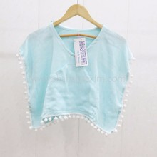 Baby dress kids poncho summer wear soft hammam pompom clothes for baby girl