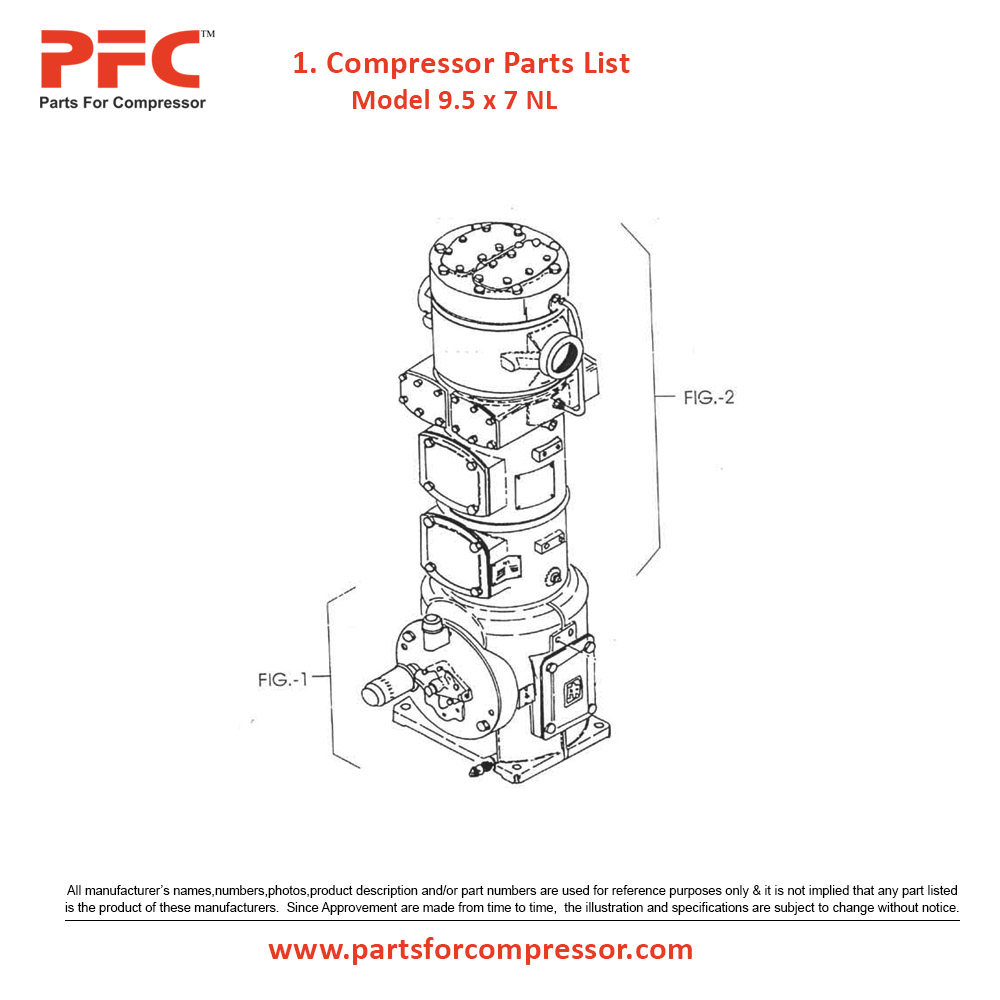 09.01 Compressor Parts List For 9 1/2 x 7 NL