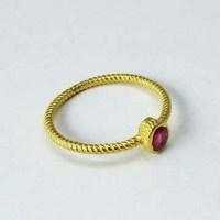 Falling Love Design !! Ruby 925 Sterling Silver Ring With Gold Plated, Boho Silver Jewelry, Sterling Rings