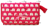 Lovely Cute Travel Cosmetic Makeup Bag Case with Mirror Pink, Elephants Print