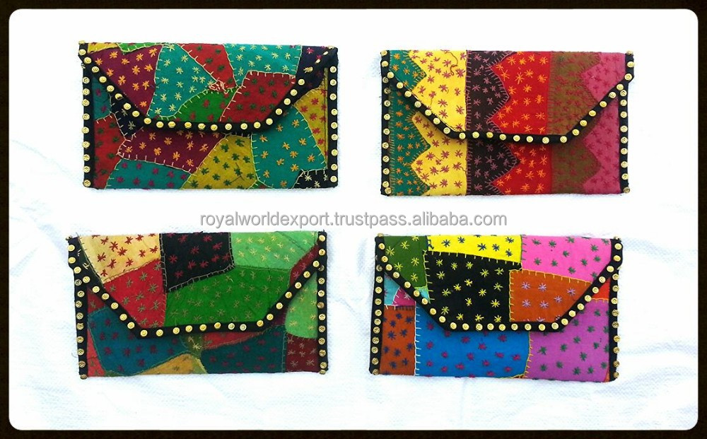 2014 Women New Envelope Jogi patch work handmade clutch bags, factory price ladies multi color Indian vintage embroidered clutch