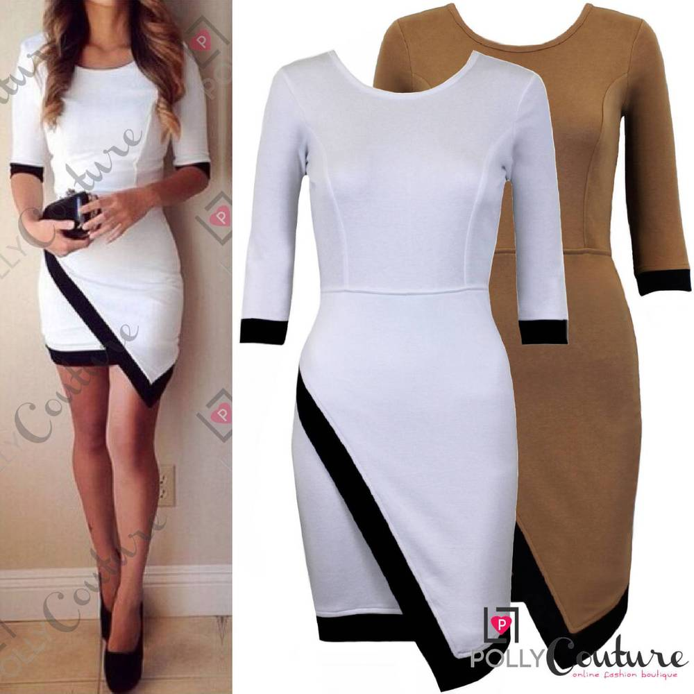 Womens Boutique White Black Asymmetric Long Sleeve Bodycon Party Short Tea Dress