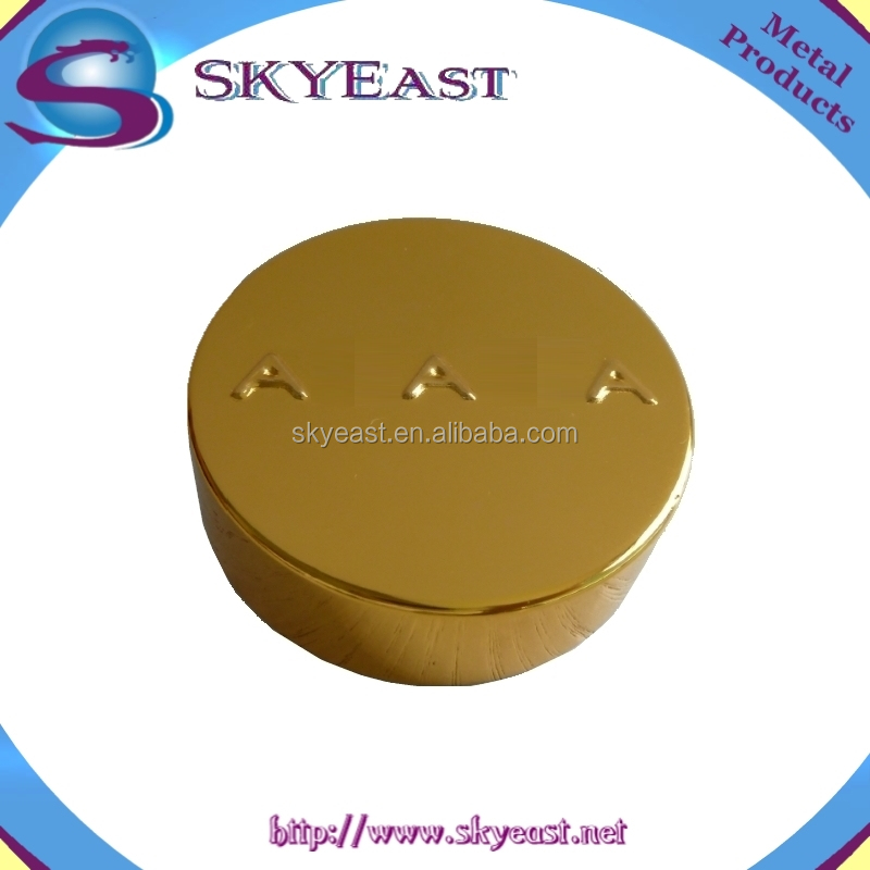 Gold Raised Logo Oxidization Aluminum Bottle Caps with Screw Plastic Inner