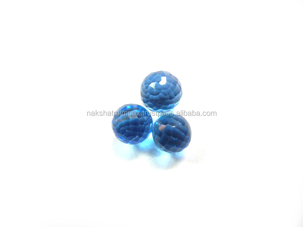 Natural Blue Topaz 8mm Round Faceted Undrilled Sphere Loose Gemstone