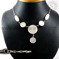 Shankar Silvex !! Mother Of Pearl Leading Selling Silver Stone Necklace, 925 Sterling Silver Jewelry NKCB1045-1