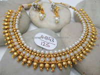 Long Pearl Maala Set- Wholesale Indian Jewellery- Traditional South Indian Gold Plated Jewelry