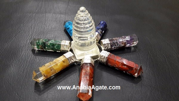 7 Chakra Energy Generator with Crystal Quartz Merkaba : Gemstone Energy Generator Tool