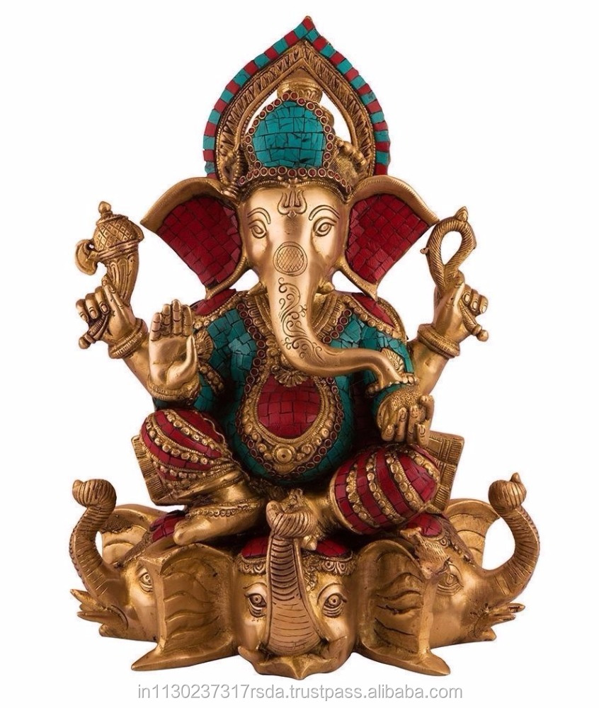 Ganesha Sitting on Elephant - Large Ganesh statue - Brass sculpture figurine