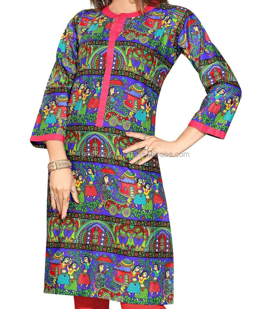 Latest design Print/Indian kurti,Embroidered Tunic/Royal best choic/Women Cheap Long Size Comfortable Blue Pink Cotton Printed