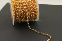 Golden Pyrite 3-4mm Roundel Faceted Beaded Gold Plated Chain