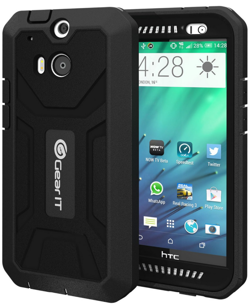 SHOXX PC / TPU Silicone Hybrid Rugged Hard Shell Cover Smartphone Case with Built-in Screen for HTC One M8 GearIt (Black)