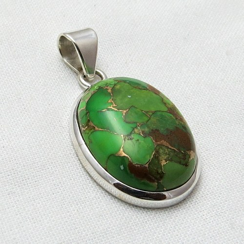 Simple Copper Green Turquoise 925 Sterling Silver Pendant, Online Silver Jewelry, Silver Jewelry Wholesale