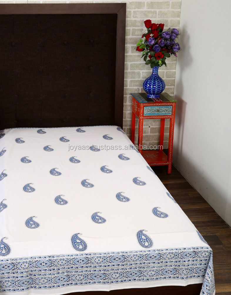 100% Cotton Bedsheets For Home & Hotel Single Size Printed Bedsheet sets