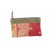 WOMAN INDIAN VINTAGE HANDBAG KANTHA PURSE POUCH CLUTCH TRADITIONAL STYLE