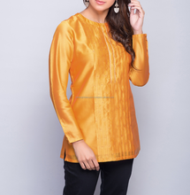 Silk Cotton Pleated Embroidered Short Kurta For Girls
