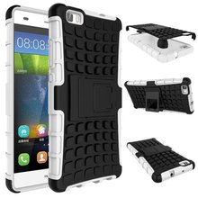 For Huawei P8 Lite mobile Cover TPU & PC Dual Armor case with Stand Holder Hard Silicone Armor Cover ShockProof Anti-Skid Case