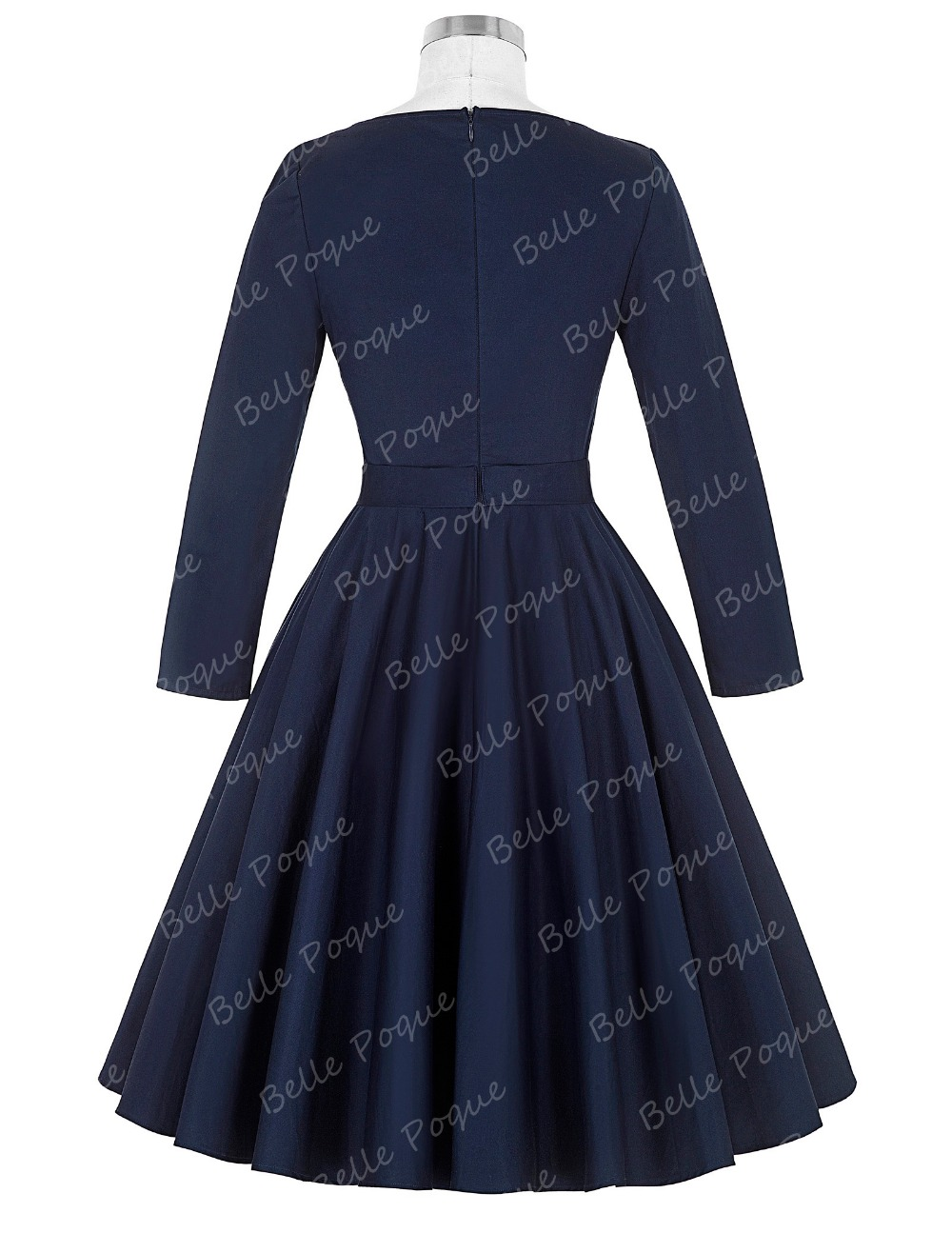 Belle Poque Stock Solid Color Long Sleeve Navy Blue casual vintage clothing dress BP000192-2