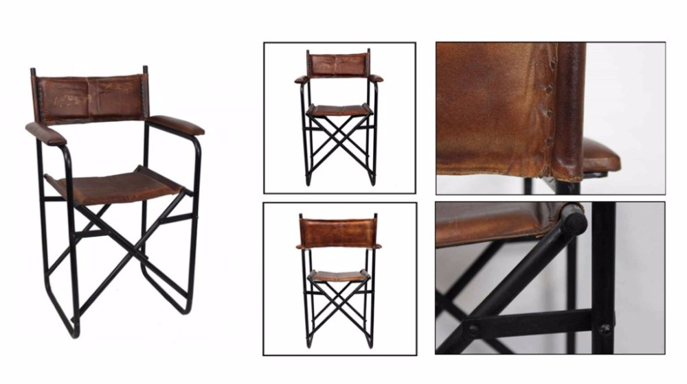INDUSTRIAL IRON LEATHER CHAIR WITH DESIGNER BASE AND COMFORTABLE SEAT