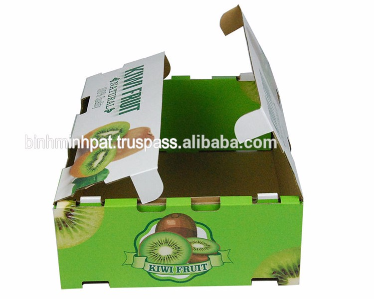 Factory custom full color printing corrugated kiwi fruit packaging box