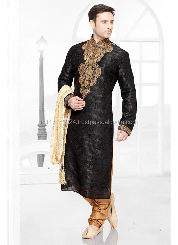 Black kurta design for men
