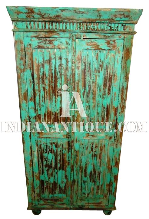 FURNITURE INDIAN DISTRESSED FINISH ANTIQUE WOODEN ALMIRAH DESIGNS INDUSTRIAL FURNITURE IA-DIS-140