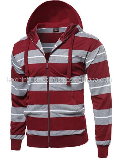 Supreme hoodie - Men's Red Stripe Raglan Zipper Hoodie with Kangaroo Pocket