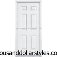 Beautiful shine colour good looking wooden front door for home decor/32 in. x 80 in. 6-Panel Primed Steel Security Prehung Front