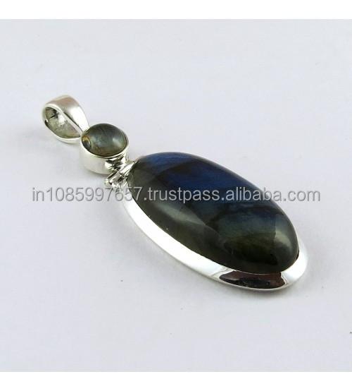 Blue Dreamer Labrodorite Gemstone Silver Pendant, 925 Silver Jewellery, Online Silver Jewellery