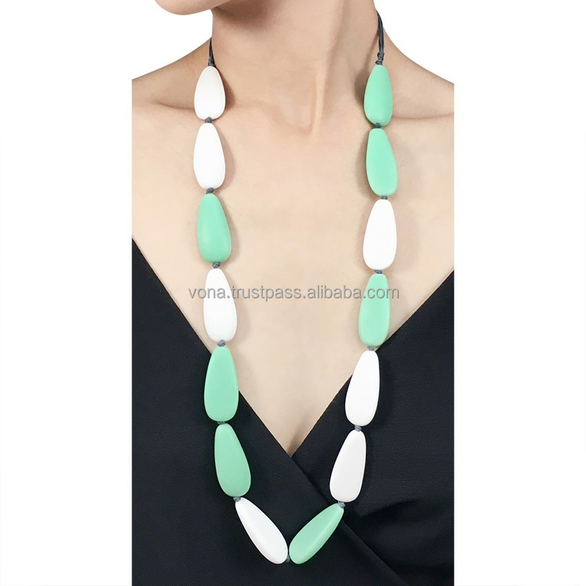 Bead Fashion Necklace Jewelries Statement Necklace Handmade Bali (IND1601-Green)