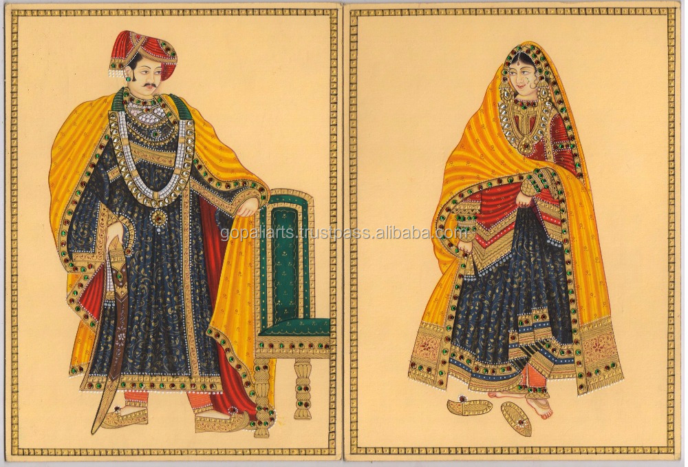 Ethnic King & Queen Painting Portrait Water Color Paper Painting Rajasthani Miniature Art