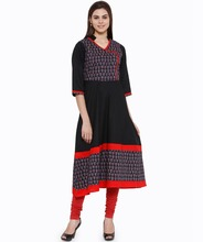 Women Ethnic Wear - Ladies Casual Cotton Angrakha Style Flared Kurti- V Neck, 3/4th Sleeve - 100% Cotton - OEM Wholesale