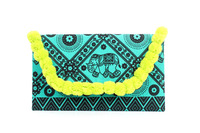 Sublime Clutch With Green Cotton Material, Adorned With Lime Poly Pompom