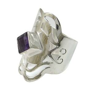 Indian Silver Plated Copper Amythest Stone Ring Fashion Jewellery Ring SZ 10 SR6503