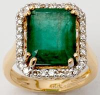 Octagon Cut Emerald White Diamond Ring Yellow Gold Jewellery