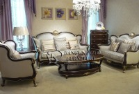 American country style solid wood sofa set with leather and fabric