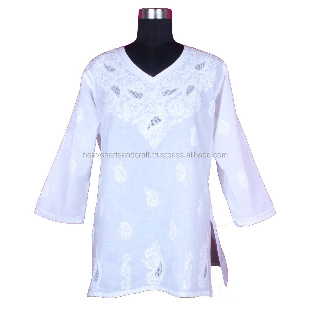 DR167 Indian Cotton Chicken Embroidered Women Tunic Dress Handmade Lucknowi Chicken White Kurti