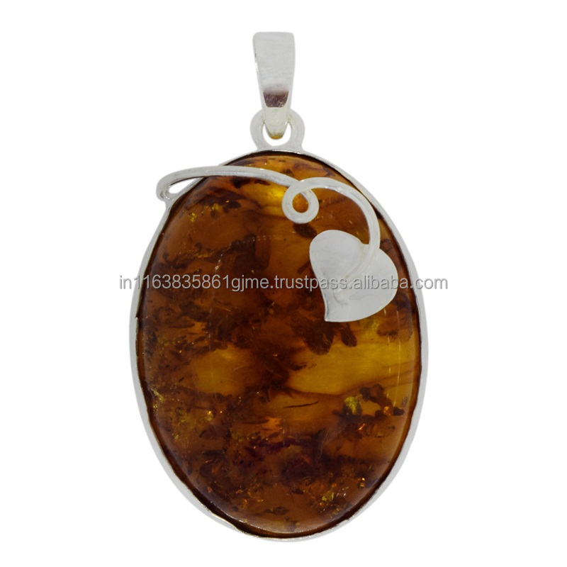 Silver shining pendant, 925 sterling huge amber gemstone silver pendant, new silver pendant