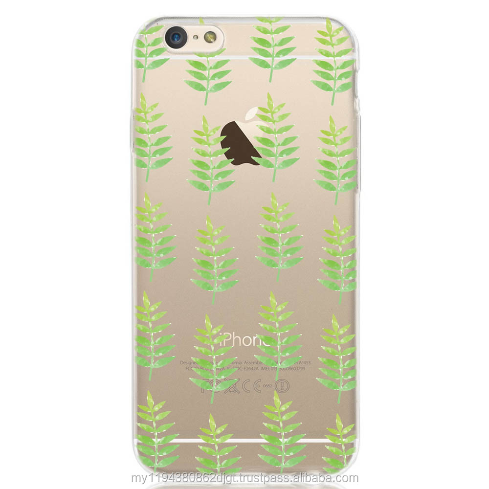 Printed Watercolored Leaf Patterned Design Soft cover TPU case