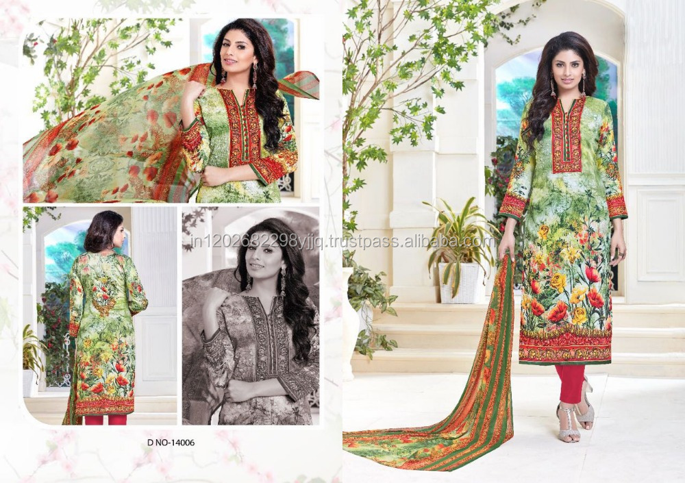 Glace cotton digital printed salwar kameez dress material