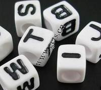 Acrylic Alphabet Beads Cube different designs for choice & four-sided white 7mm Approx 1100PCs/Bag Sold By Bag