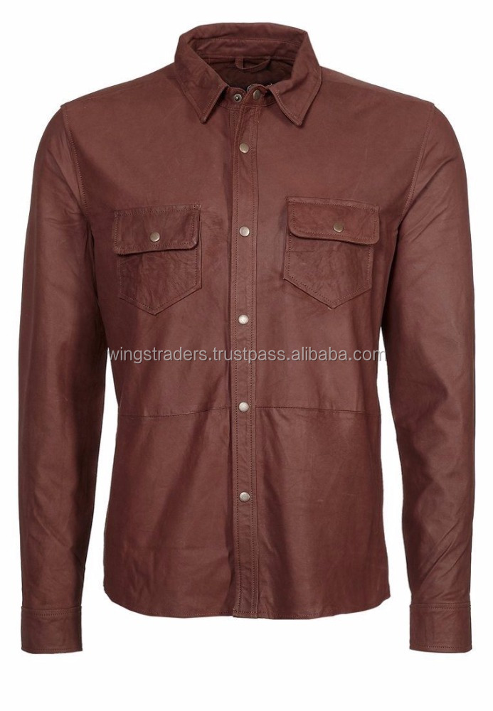 Custom Plain Simple But Stylish Casual Wear Leather Shirt