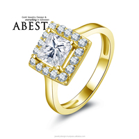6x6mm Princess 10K Gold Yellow Ring Simulated Diamond Ring Jewelry New Wedding Engagement Ring For Women Gift