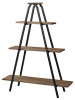 Vintage Industrial Bookcase, Wood Metal Industrial Style Bookcase, Antique Finish