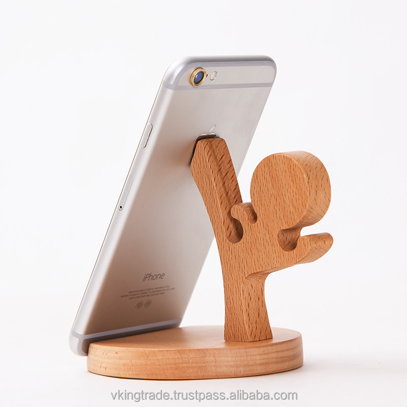 Vking Creative Wooden Square rotating sticky phone holder stand with Cartoon Character Office