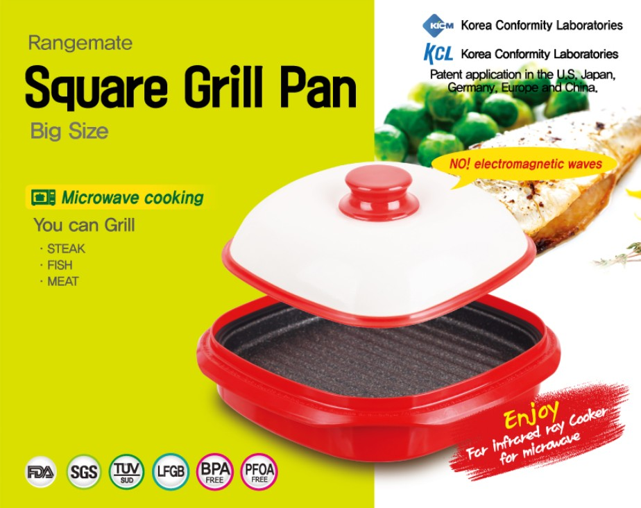 Rangemate Square Grill Pan Big Size Microwave Cooking Pan Frying Grill Pan
