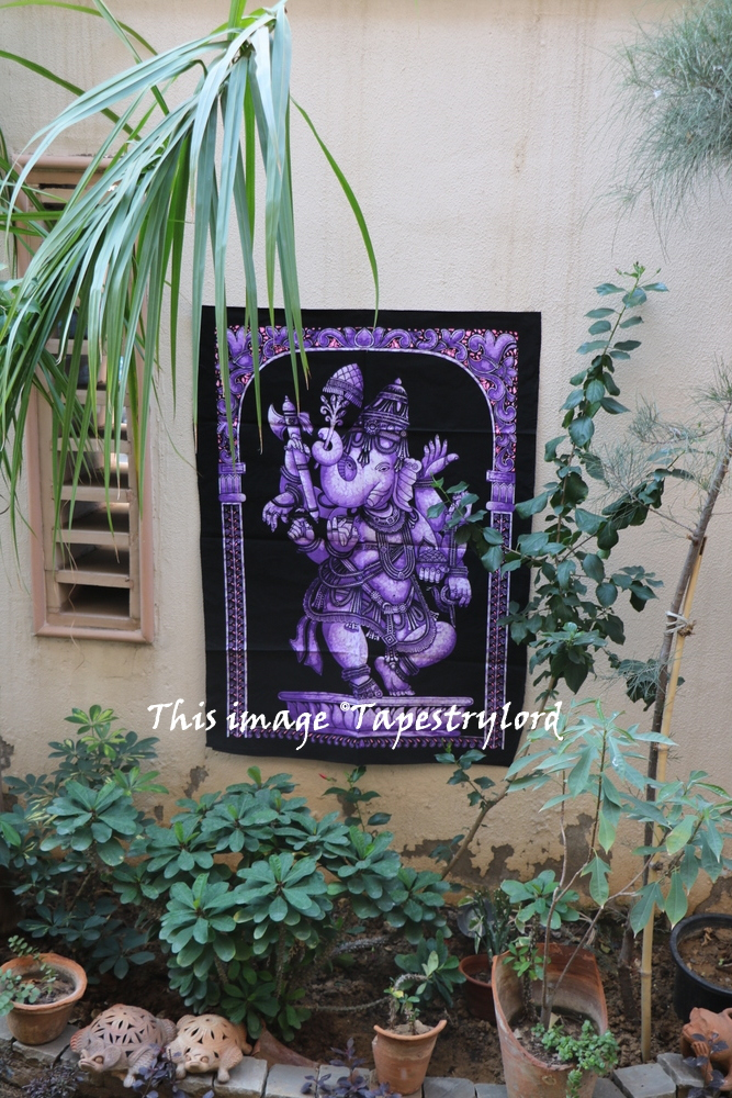Indian Lord Ganesha Tapestry Throw Decor Bohemian Hippie God Wall Hanging Art