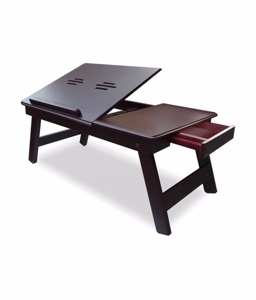 Adjustable wooden folding laptop bed computer table