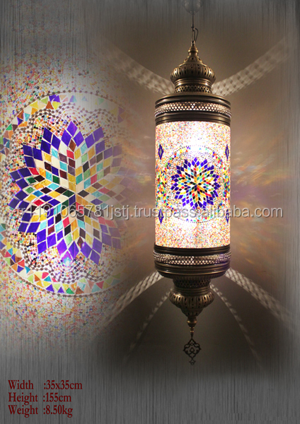 Mosaic Glass Turkish and Ottoman Brazen Lamp