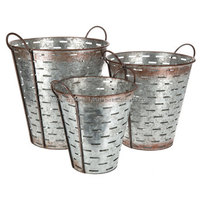 Antique Galvanized Round Shape Olive Metal Bucket with Handle
