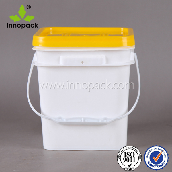 8 litre food grade square plastic pail bucket with lid with handle for ice cream canned